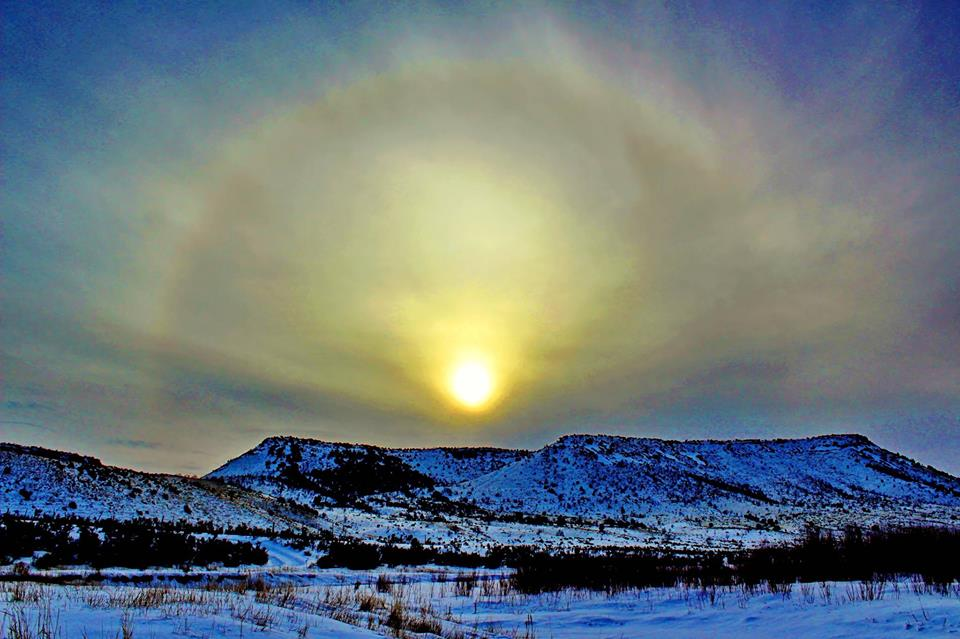 Usually, towering rock formations are the main attractions at City of Rocks National Reserve in Idaho. However, recent conditions there gave us this awesome sight: a sun halo. Ice crystals suspended in the winter air catch the sunlight and produce this dazzling effect. Tweeted by the US Department of the Interior, 1/21/16.