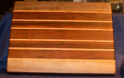 "Cutting Board 16 - Edge 006. Black Walnut, Cherry, Jatoba. Edge Grain. 13"" x 16"" x 1-1/4""."