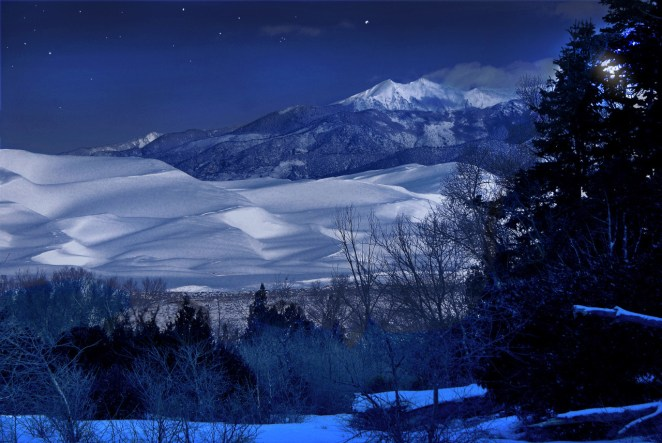 Great Sand Dunes National Park in Colorado boasts the tallest dunes in North America. Spreading across 30 square miles, this ocean of sand glows under a winter coat of snow. Cleveland Peak catches the moonlight too, creating this gorgeous winter shot. Posted on Tumblr by the US Department of the Interior, 1/8/16.