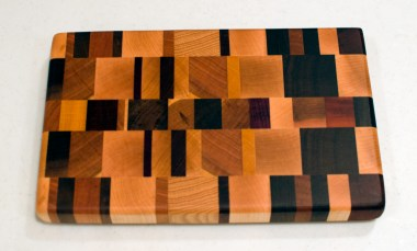 "Small Board 16 - 003. Hard Maple, Black Walnut, Cherry, Hickory, Padauk & Jatoba. End grain. 6"" x 10"" x 1""."