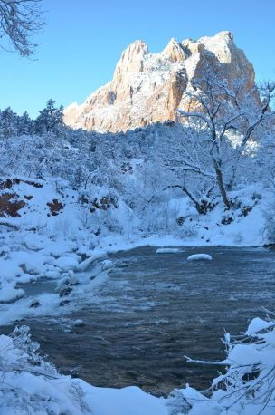 The Virgin River flows through the winter stillness of Zion National Park in Utah. Frost clings to the trees and snow covers the ground in this gorgeous scene. The high altitude and the deep shadows in the canyons can keep temperatures low, but for those willing to endure, incredible beauty is the reward. Posted on Tumblr by the US Department of the Interior, 1/25/16.