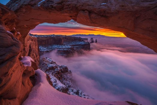 Sunrise, snow & clouds mingle to create a spellbinding pic of Mesa Arch Utah's Canyonlands National Park. Photo by Simon Dumont. Tweeted by the US Department of the Interior, 2/18/16.
