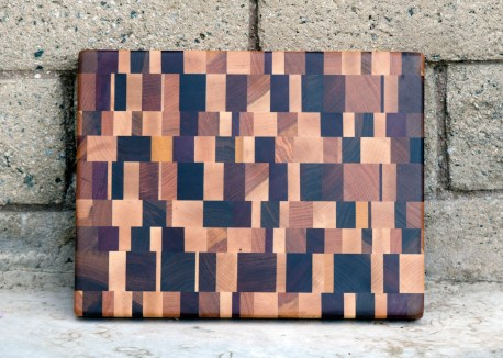 "Cutting Board 16 - End 015. Chaos Board. Cherry, Black Walnut, Purpleheart, Yellowheart, Jatoba, Padauk & Honey Locust. End Grain. 11"" x 14"" x 1-1/4""."