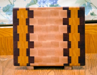 "Cutting Board 16 - End 020. Hard Maple, Jatoba & Yellowheart. End grain. 12"" x 15"" x 1-1/8""."