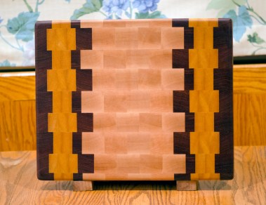 "Cutting Board 16 - End 020. Hard Maple, Jatoba & Yellowheart. End grain. 12"" x 15"" x 1-1/8""."