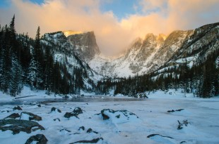 Offering a huge reward for little effort, Dream Lake is only a mile hike from Bear Lake Trailhead at Rocky Mountain National Park in Colorado. Winter conditions can add complications, but there's nothing like sunrise painting the mountains to make you forget about the cold. Photo by Crystal Brindle. Posted on Tumblr by the US Department of the Interior, 2/24/16.