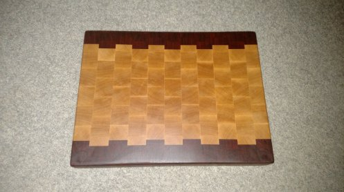 "Cutting Board 16 - End 028. End Grain. Padauk & Hard Maple. 12-1/2"" x 16"" x 1-1/2""."