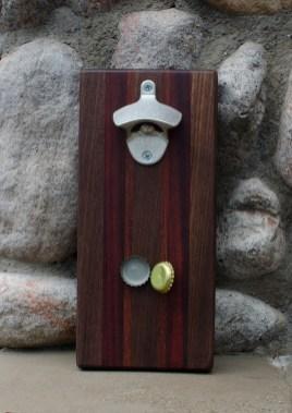 "Magic Bottle Opener 16 - 01. Black Walnut, Bloodwood & Jarrah. Approximately 5"" x 10"" x 3/4"". Claimed by Mrs M."