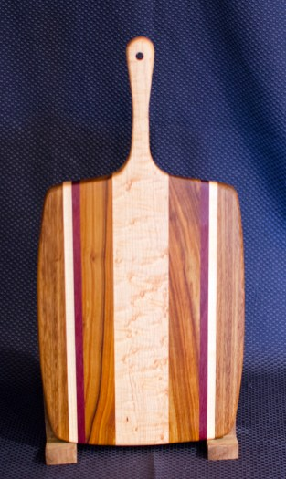 "Sous Chef 16 - 005. Teak, Quilted Hard Maple, Purpleheart, Canarywood & Birds Eye Maple. 11"" x 14"" work area w/6"" handle."