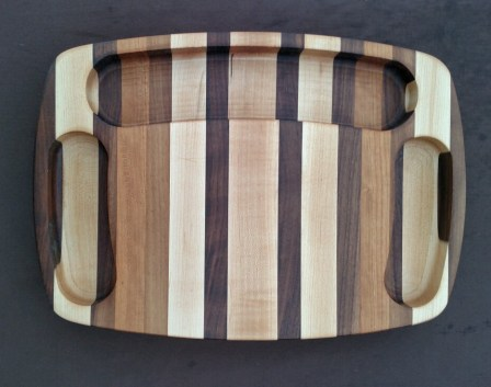 """Cheese & Cracker Server 16 - 01. Maple, Walnut & Cherry. Side reservoirs are 1-1/2"""" wide, and the top is 2-1/2"""" wide. Piece is 11"""" x 15"""" x 1-1/2""""."""