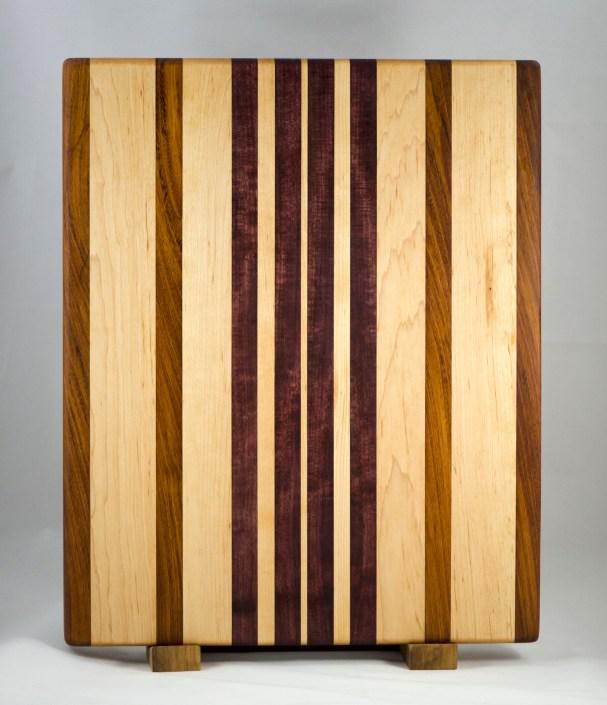 "Cutting Board 16 - Edge 011. Jatoba, Hard Maple & Purpleheart. Edge grain. 14"" x 18"" x 1-1/4""."