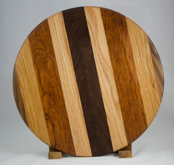 "Lazy Susan 16 - 007. Black Walnut, White Oak, Jatoba & Cherry. 17-1/2"" diameter x 3/4""."