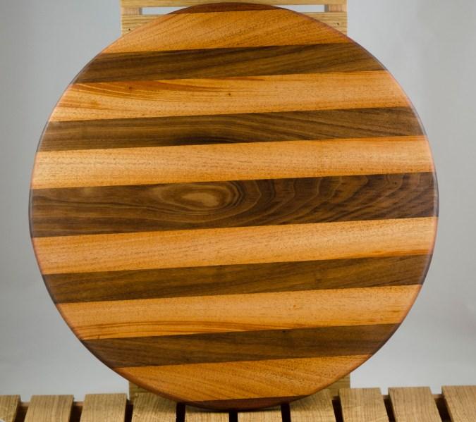 "Lazy Susan 16 - 009. Jatoba, Mahogany & Black Walnut. 18"" diameter x 3/4""."