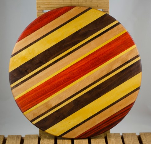 "Lazy Susan 16 - 013. Padauk, Hard Maple, Black Walnut & Yellowheart. 17"" diameter x 3/4""."