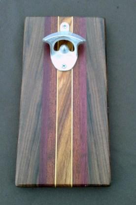 Magic Bottle Opener 16 - 020. Black Walnut, Purpleheart, Padauk, Yellowheart & Canarywood.