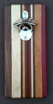 Magic Bottle Opener 16 - 034. Chaos Board. Black Walnut, Hard Maple, Honey Locust, Bloodwood, Cherry & Purpleheart.