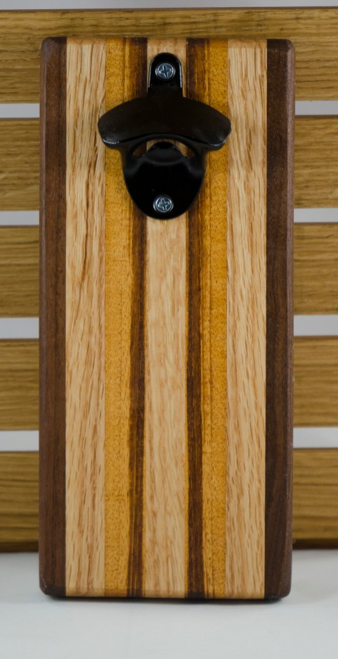 Magic Bottle Opener 16 - 043. Black Walnut, Red Oak & Goncalo Alves.