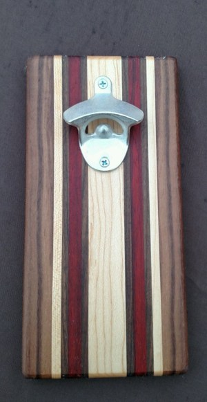 Magic Bottle Opener 16 - 051. Black Walnut, Hard Maple & Padauk. Double Magic for refrigerator mount.