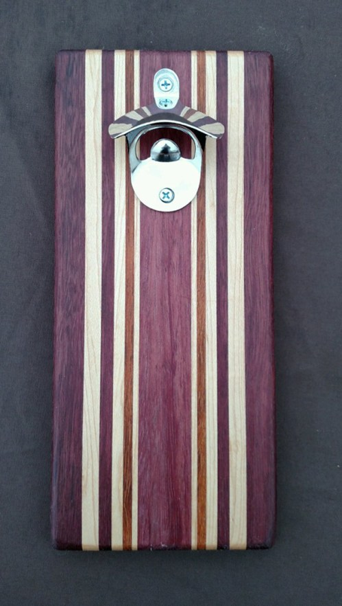 Magic Bottle Opener 16 - 059. Purpleheart, Hard Maple & Jarrah. Double Magic for refrigerator mount.