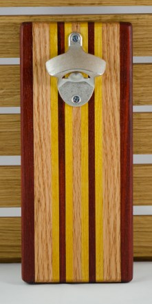 Magic Bottle Opener 16 - 065. Double Magic. Padauk, Red Oak & Yellowheart.