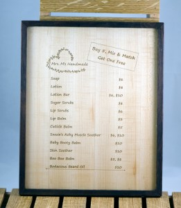 Booth 4 - Mrs M Price List