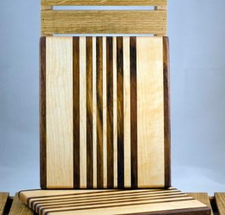 """Cheese Board 16 - 021. Jatoba & Hard Maple. 9"""" x 11"""" x 3/4""""."""