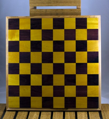 "Chess 16 - 04. Purpleheart & Yellowheart playing surface, framed in Hard Maple. Squares are 2-1/8"" across."