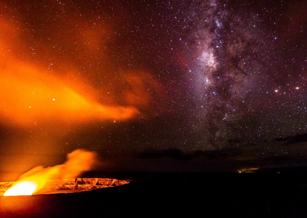 Hawai'i Volcanoes National Park & the Milky Way. Photo by Ryan Coad. Tweeted by the US Department of the Interior, 6/2/16.