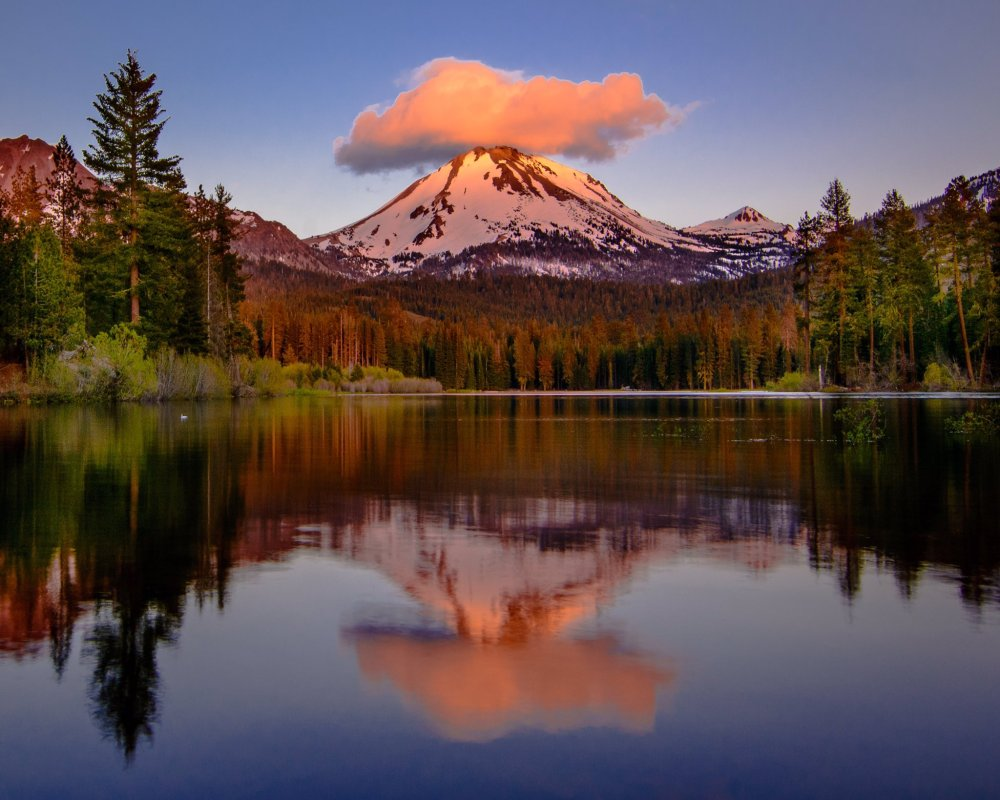 Even the mountains are stylish in California, like this one wearing a cloud as a hat for a beautiful sunset. Lassen National Park. Photo by Karly McCrory. Tweeted by the US Department of the Interior, 6/7/16.