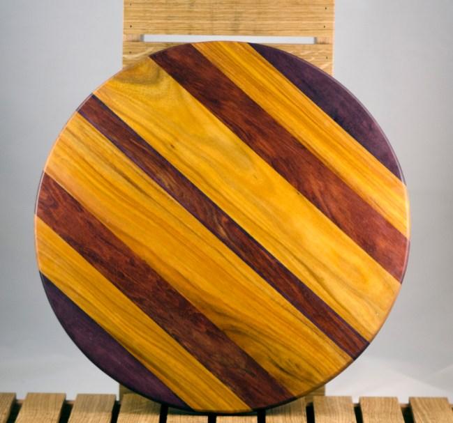 """Lazy Susan 16 - 016. Purpleheart, Bubinga & Canarywood. 17"""" diameter."""