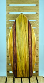 Medium Surfboard 16 - 01. Canarywood, Purpleheart & Bubinga.