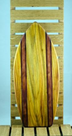 Medium Surfboard 16 - 01. Canarywood, Purpleheart & Bubinga.