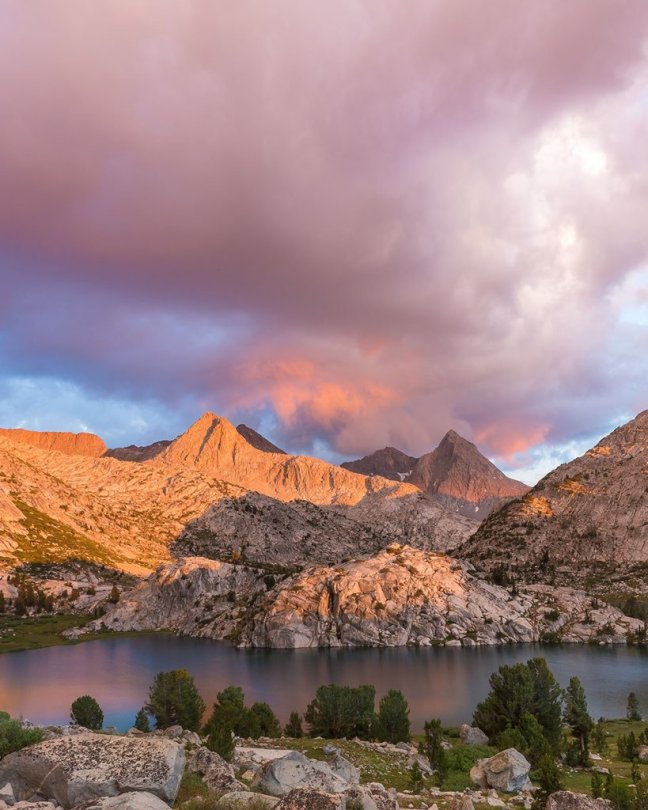 Evolution Lake in Kings Canyon National Park. With an elevation of 10,800' and located 25 miles from the nearest road, few people are privileged to see thsi view in person. Photo by Christian Schaffer. Tweeted by the US Department of the Interior, 5/25/16.