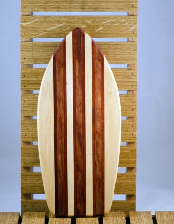 Small Surfboard 16 - 01. Hard Maple, Bloodwood & Bubinga. Sold in its first showing.