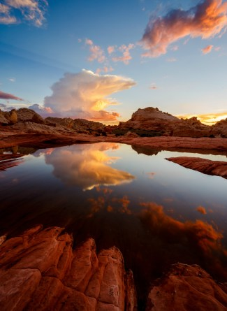 White Pocket is in a remote section of Vermilion Cliffs National Monument in Arizona. Home to extraordinary sandstone formations, it is popular with photographers intrepid enough to explore it. Under a deep blue sky, the red and white swirls form an amazing contrast, and if you get lucky enough to find a puddle after a rainstorm, you might get a picture of a lifetime. Photo by Jessica Fridrich. Posted on Tumblr by the US Department of the Interior, 6/6/16.