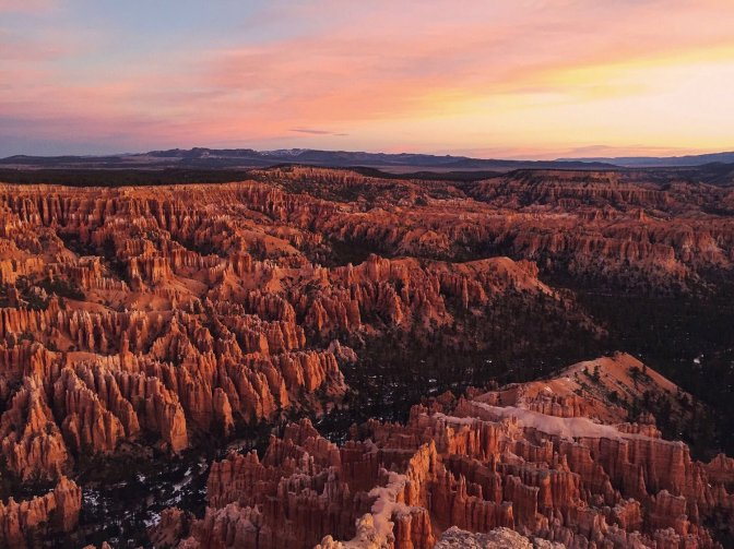 Sunrise over Utah's Bryce Canyon National Park, seen from Bryce Point. Photo by Chris Cialeo. Tweeted by the US Department of the Interior, 7/5/16.