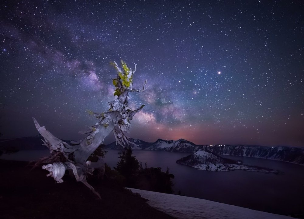 Midnight makes for a dazzling display of stars in this shot of the Milky Way over Oregon's Crater Lake National Park. Photo by Matt Shiffler. Tweeted by the US Department of the Interior, 7/26/16.