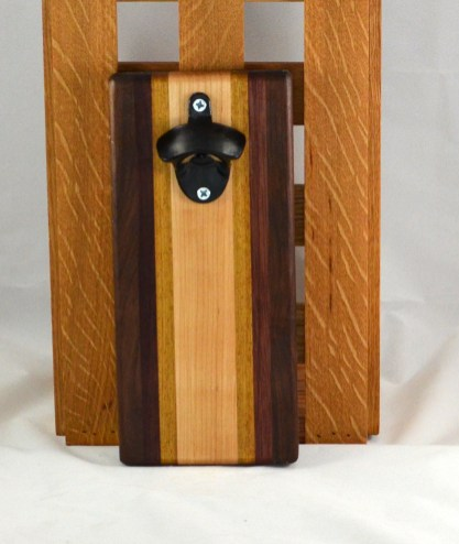 Magic Bottle Opener 16 - 083. Black Walnut, Bloodwood, Teak & Hard Maple. Wall mount.