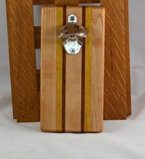 Magic Bottle Opener 16 - 085. Hard Maple, Yellowheart & Cherry. Wall mount.