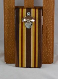 Magic Bottle Opener 16 - 086. Black Walnut, Yellowheart, Padauk & Hard Maple. Wall mount.