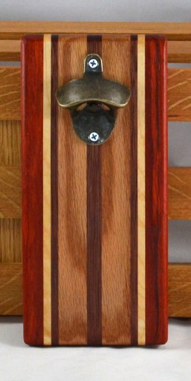 Magic Bottle Opener 16 - 094. Padauk, Hard Maple, Bubinga & Red Oak. Double Magic = Refrigerator or Wall Mount.