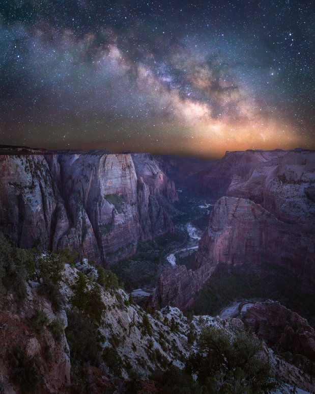 The Milky Way over Observation Point. Utah's Zion National Park. Photo by Jared Warren. Posted on Tumblr by the US Department of the Interior, 7/3/16.