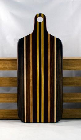 "Bread Board 16 - 03. Black Walnut, Padauk, Cherry, Yellowheart & Hard Maple. 8"" x 20"" x 7/8""."
