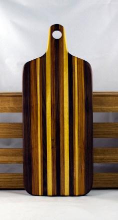 "Bread Board 16 - 04. Black Walnut, Canarywood & Yellowheart. 8"" x 20"" x 7/8""."