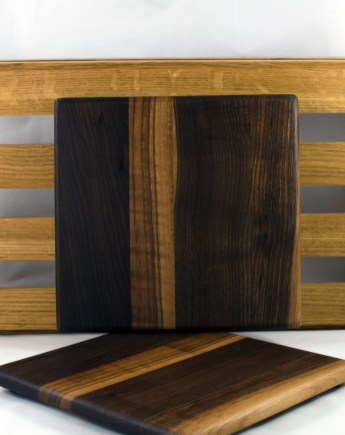 "Cheese Board 16 - 033. Black Walnut. 9"" x 9"" x 3/4""."