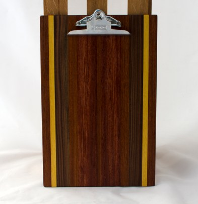 "Clipboard 16 - 029. Jatoba, Yellowheart, Black Walnut & Bubinga. Legal size. 1"" clip."