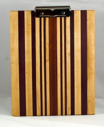 "Clipboard 16 - 031. Hard Maple, Purpleheart & Bloodwood. Letter size, 1/2"" clip. Commissioned piece."