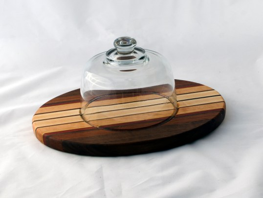 Domed Cheese & Cracker Server 16 - 07. Black Walnut, Jatoba, Cherry & Hard Maple. Made for 2-sided use, but feet could be added.