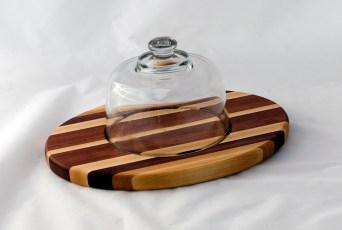 Domed Cheese & Cracker Server 16 - 10. Hard Maple, Cherry, Black Walnut & Bubinga. Made for 2-sided use, but feet could be added.