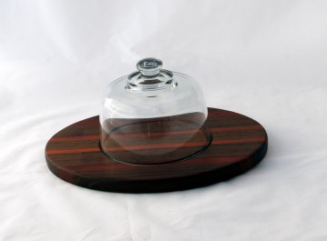 Domed Cheese & Cracker Server 16 - 12. Black Walnut & Bloodwood. Made for 2-sided use, but feet could be added.